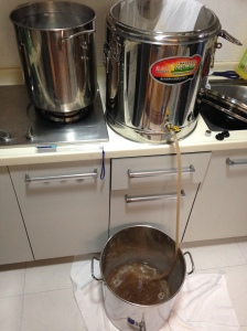 Post mash, prepping for the boil. NO MORE SCOOPING!