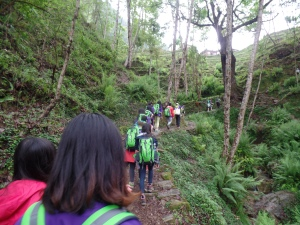 Hiking up to the school
