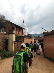 Walking into Bhaktapur.